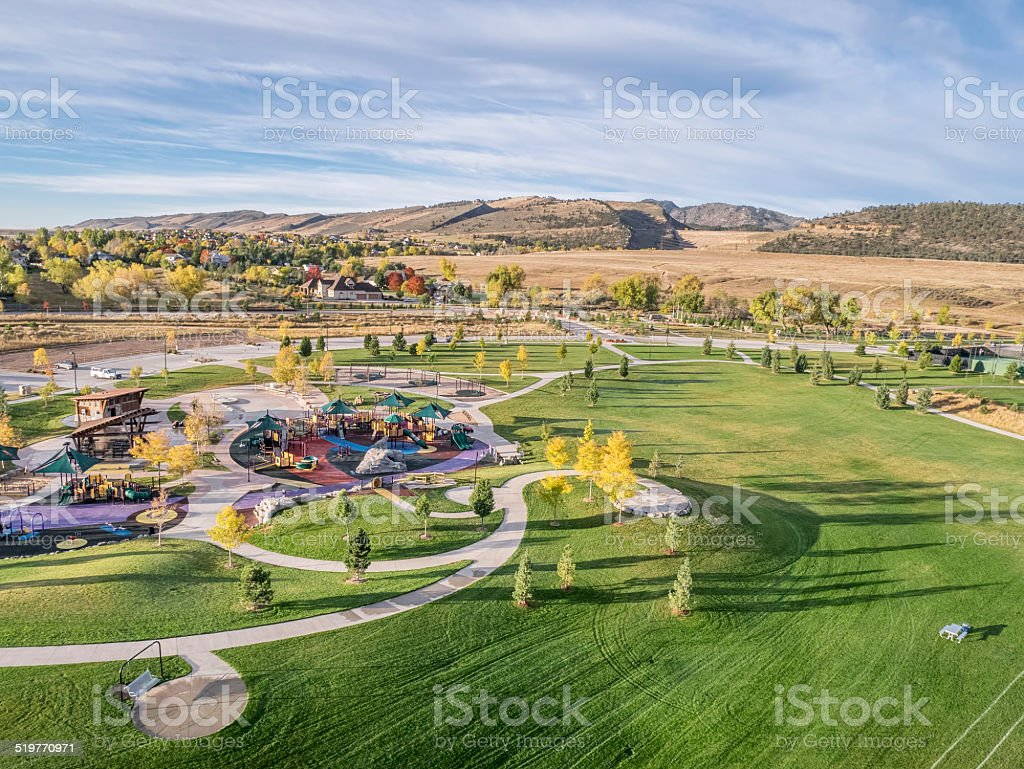 park and playground aerial view stock photo