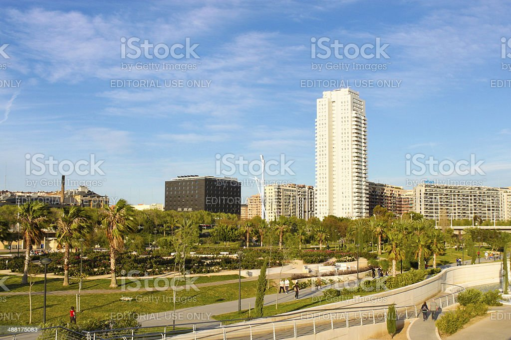 Park and residential area in Valencia stock photo