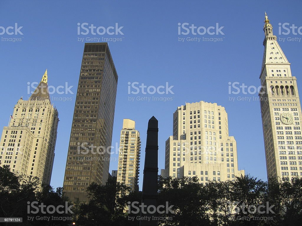 Park and Skyscrapers, NYC royalty-free stock photo