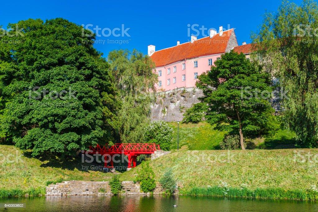 Park and view of Toompea hill in Tallinn, Estonia. stock photo