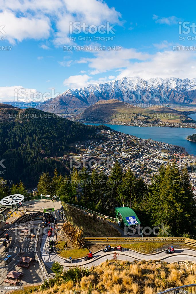SKYLINE park and view over Queenstown stock photo