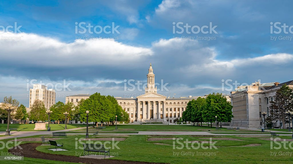 Park at the county courthouse in Denver stock photo