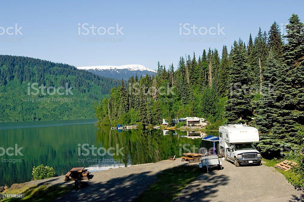 RV park at the lake stock photo