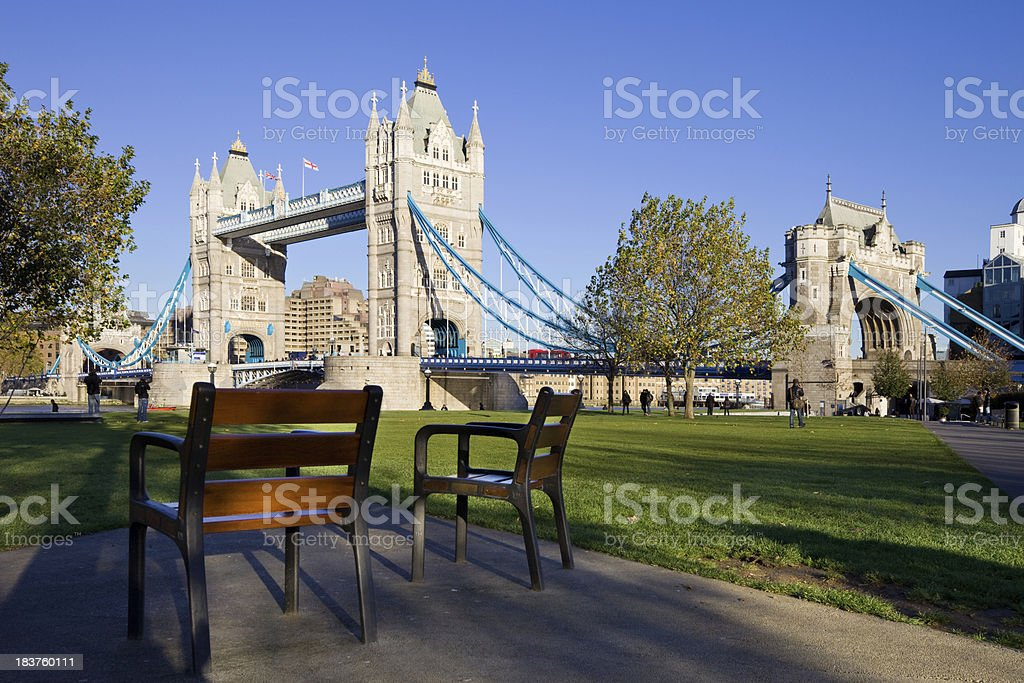 Park at Tower Bridge London England royalty-free stock photo