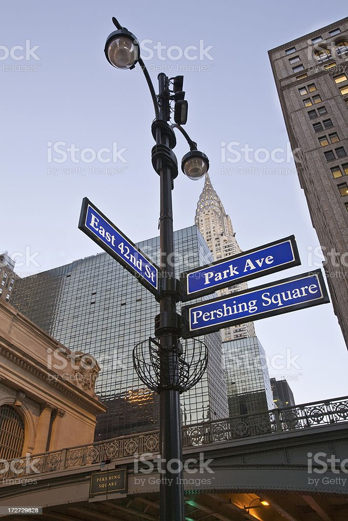 park avenue and 42nd street stock photo