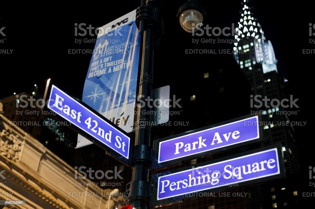 Park Avenue and 42nd Street Signs Manhattan stock photo