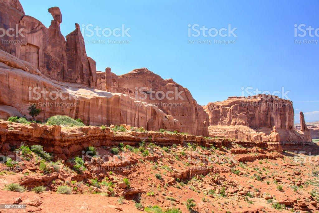Park Avenue Overview, Arch National Park, Moab, Utah stock photo