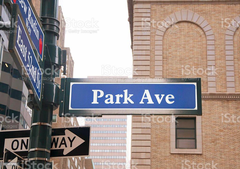 Park Avenue road sign, New York City stock photo