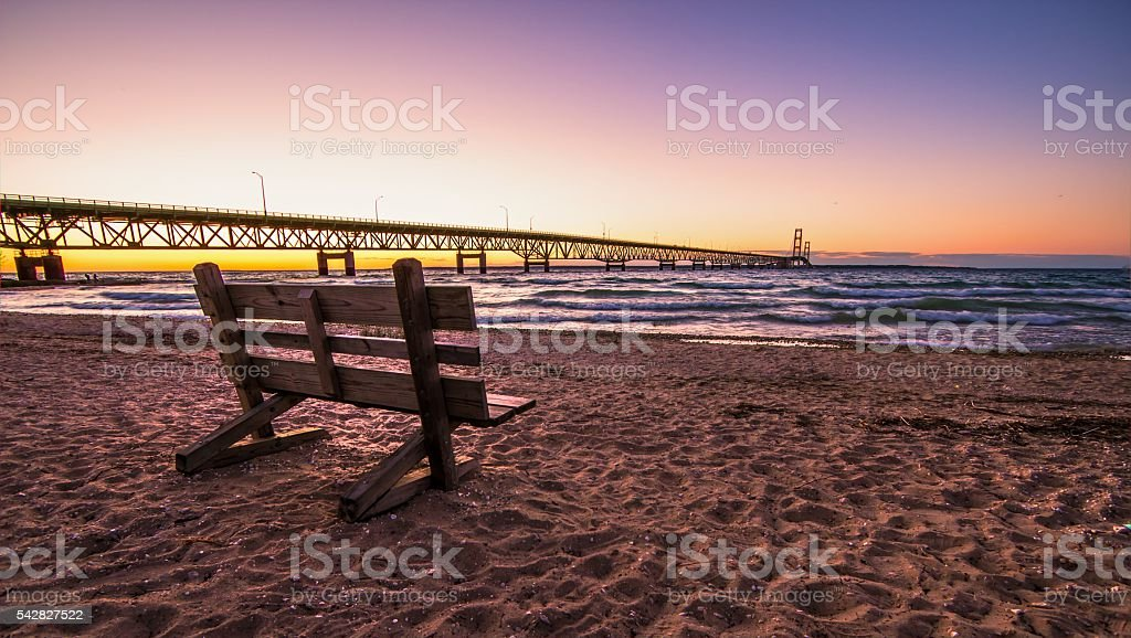Park Bench And Mackinaw Bridge Twilight stock photo
