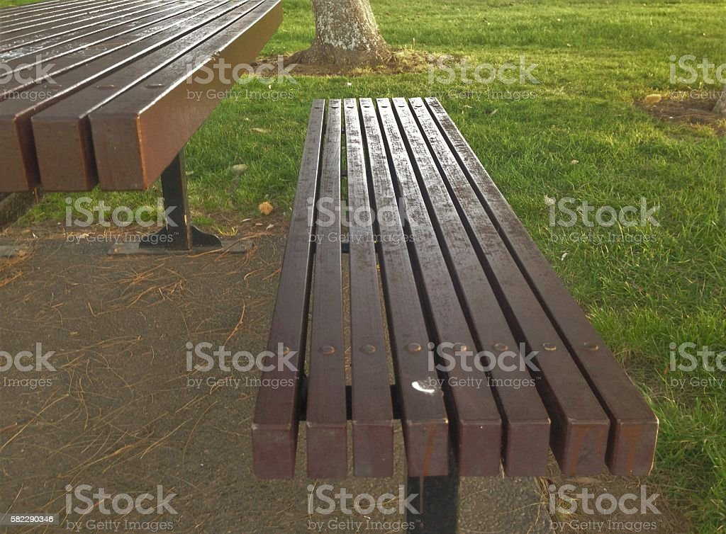 Park Bench and table partial stock photo