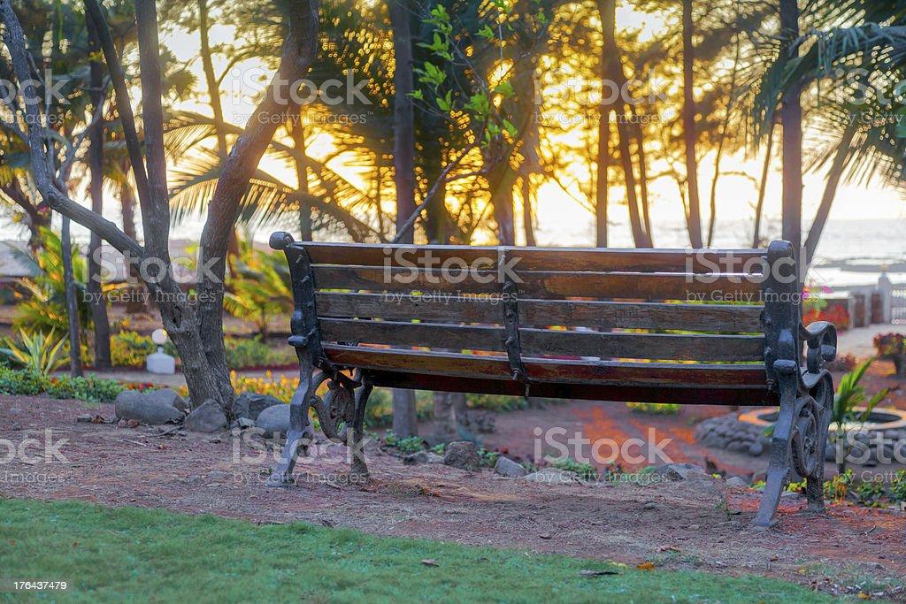 park bench Arabian Sea horizon line stock photo
