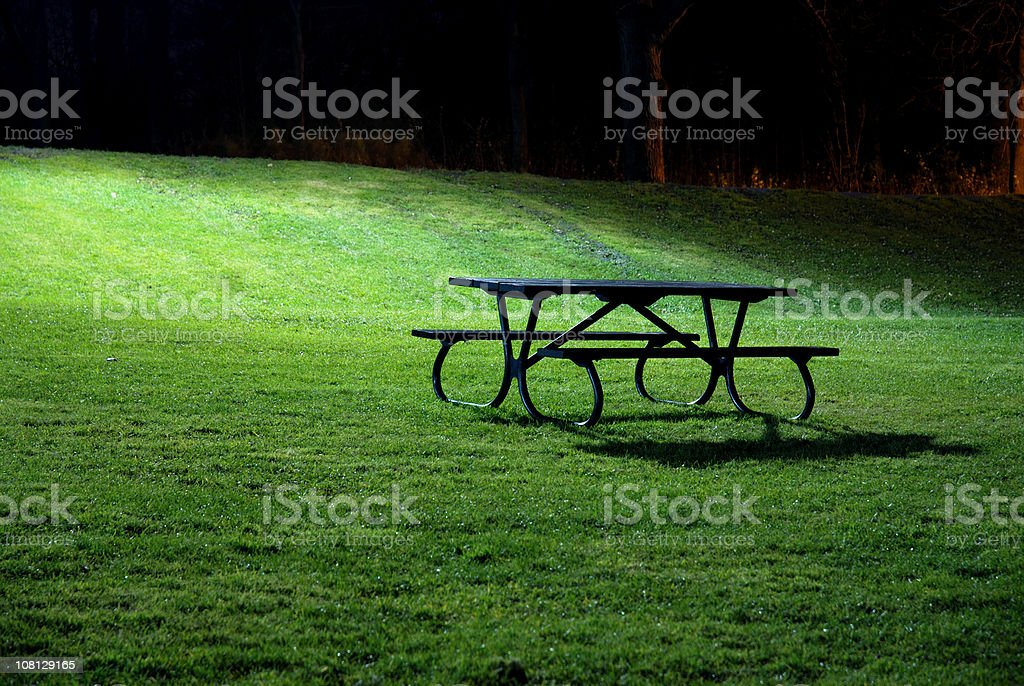 Park bench at Night stock photo