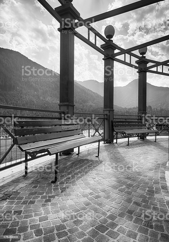 Park Bench. Black and White royalty-free stock photo