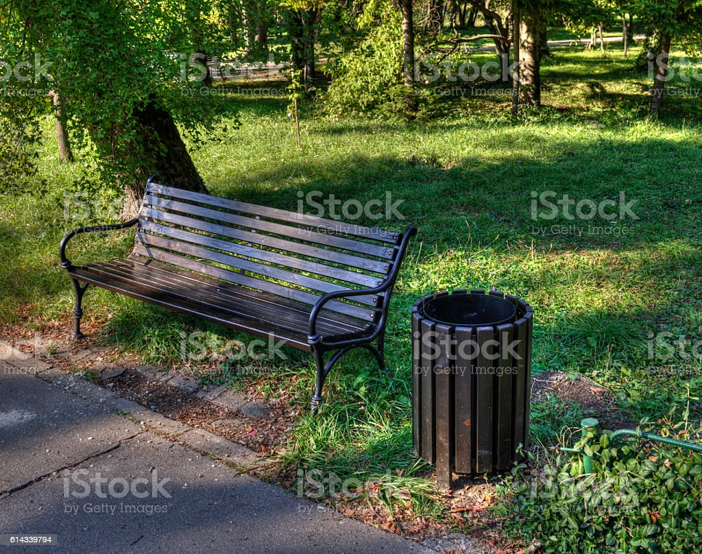 Park Bench & Trash Can stock photo