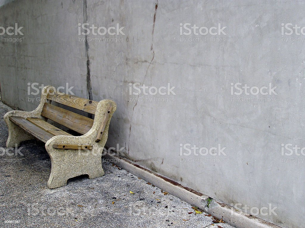 Park Bench with Space for Copy stock photo