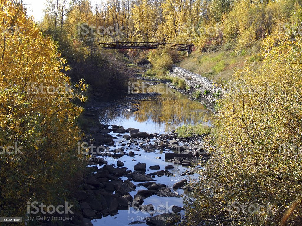 Park Bridge in Northern Alberta - Fall stock photo