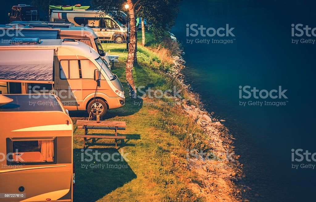 RV Park Camping at Night stock photo