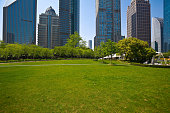 Park empty lawn with modern city buildings background