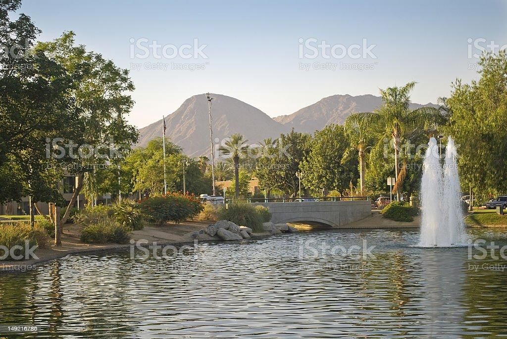 Park Fountain, Palm Desert stock photo