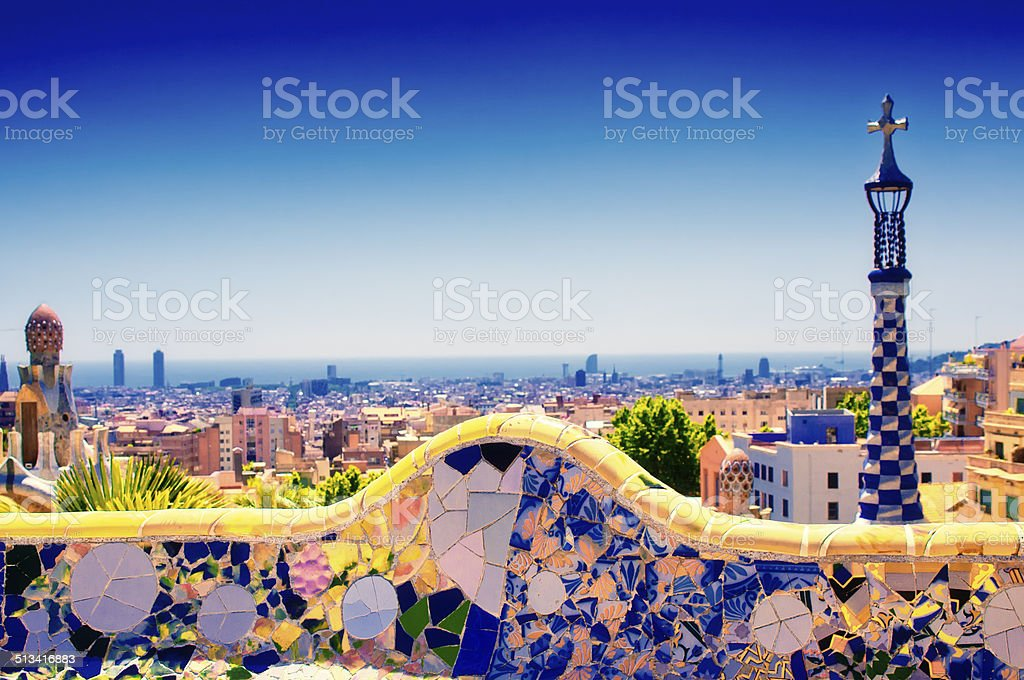 Park Guell at Barcelona. Toned image stock photo