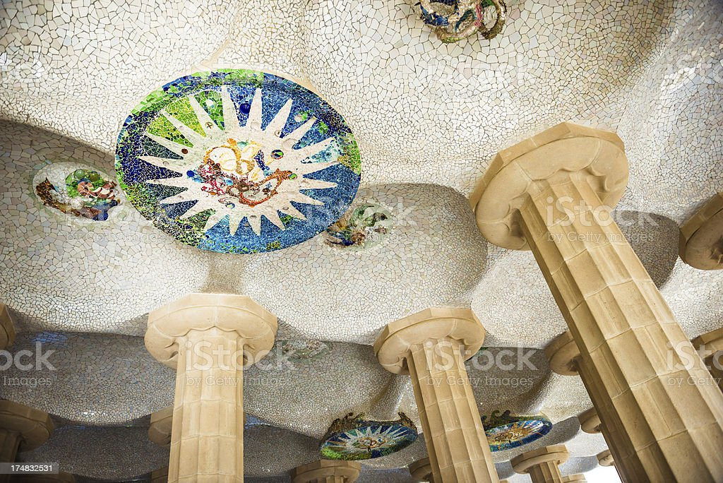 Park Guell Balcony Ceiling stock photo