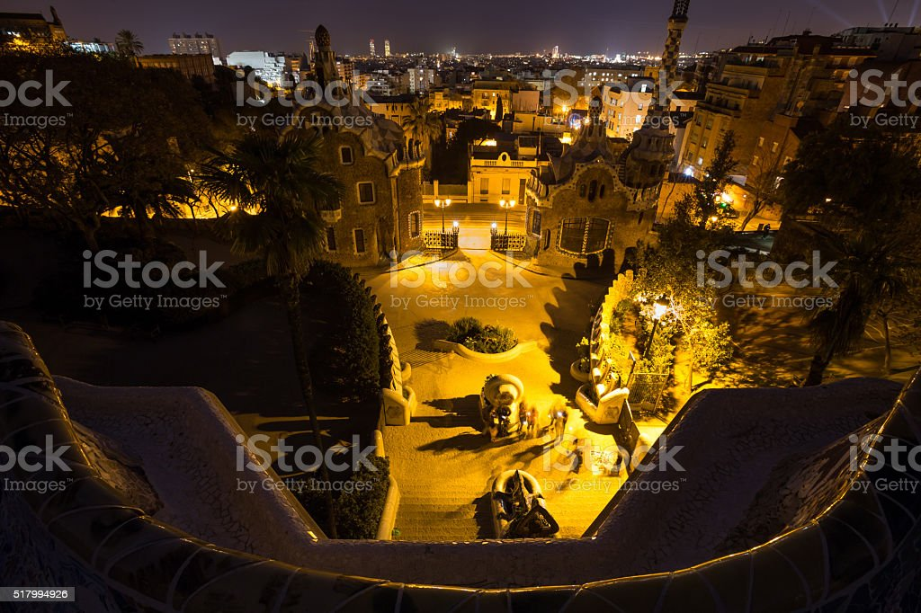 park guell barcelona spain at night stock photo