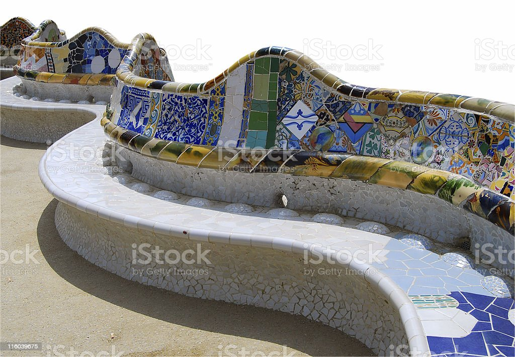 Park Guell - Clipping path stock photo