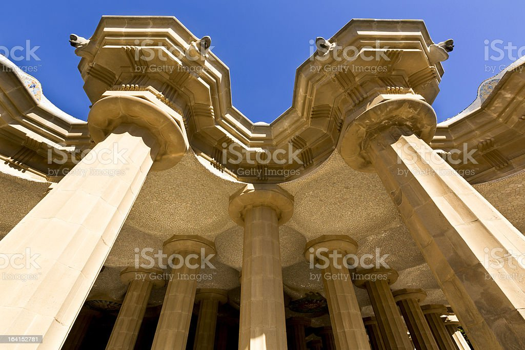 Park Guell Columns, Barcelona royalty-free stock photo