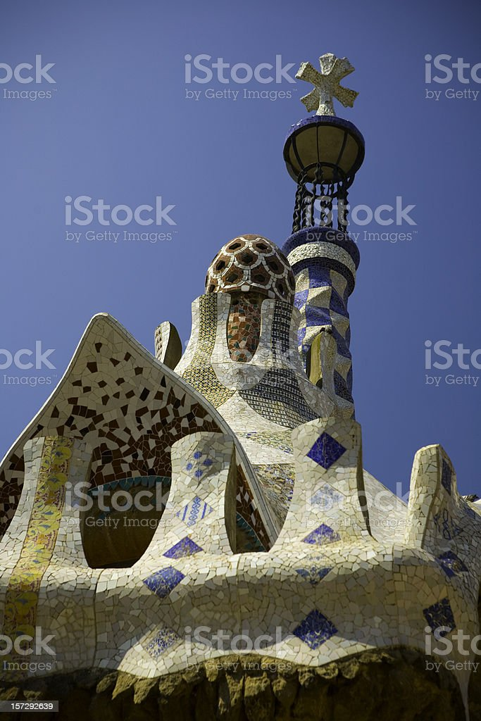 Park Guell cross by Antonio Gaudi in Barcelona Spain stock photo