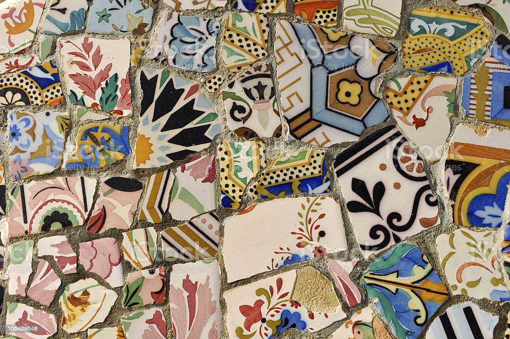 Park Guell - Gaudi Tile royalty-free stock photo
