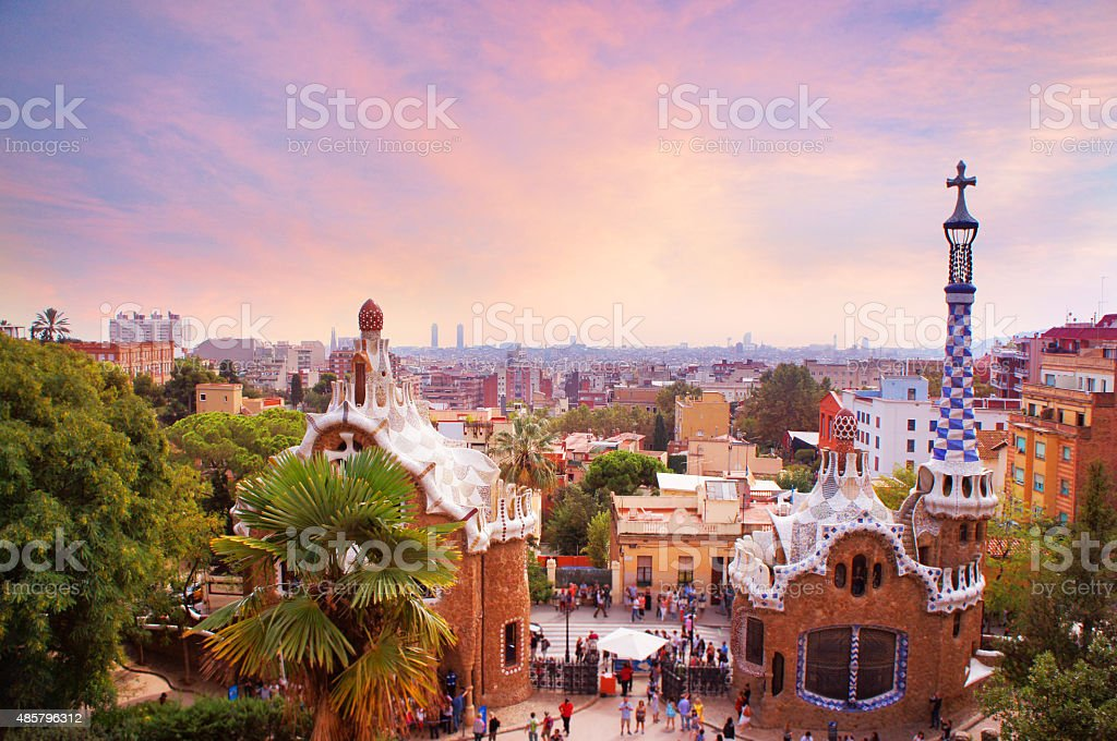 Park Guell in Barcelona at sunset stock photo