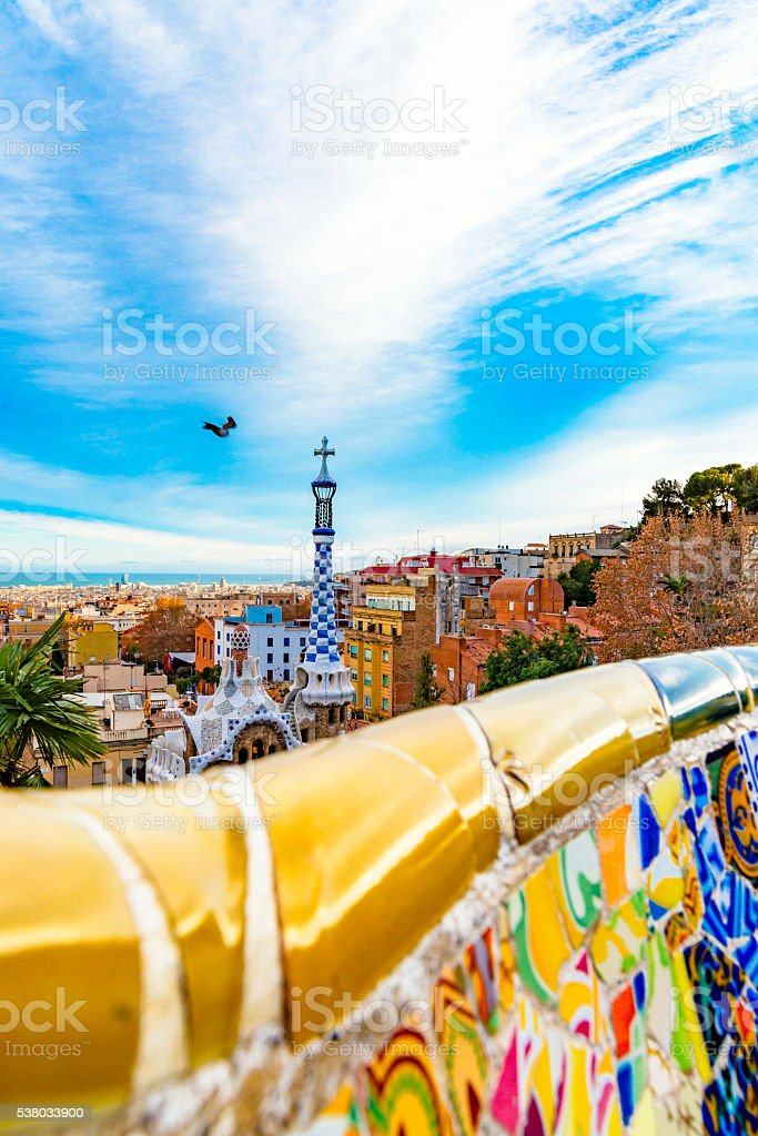 Park Guell mosaic bench terrace stock photo