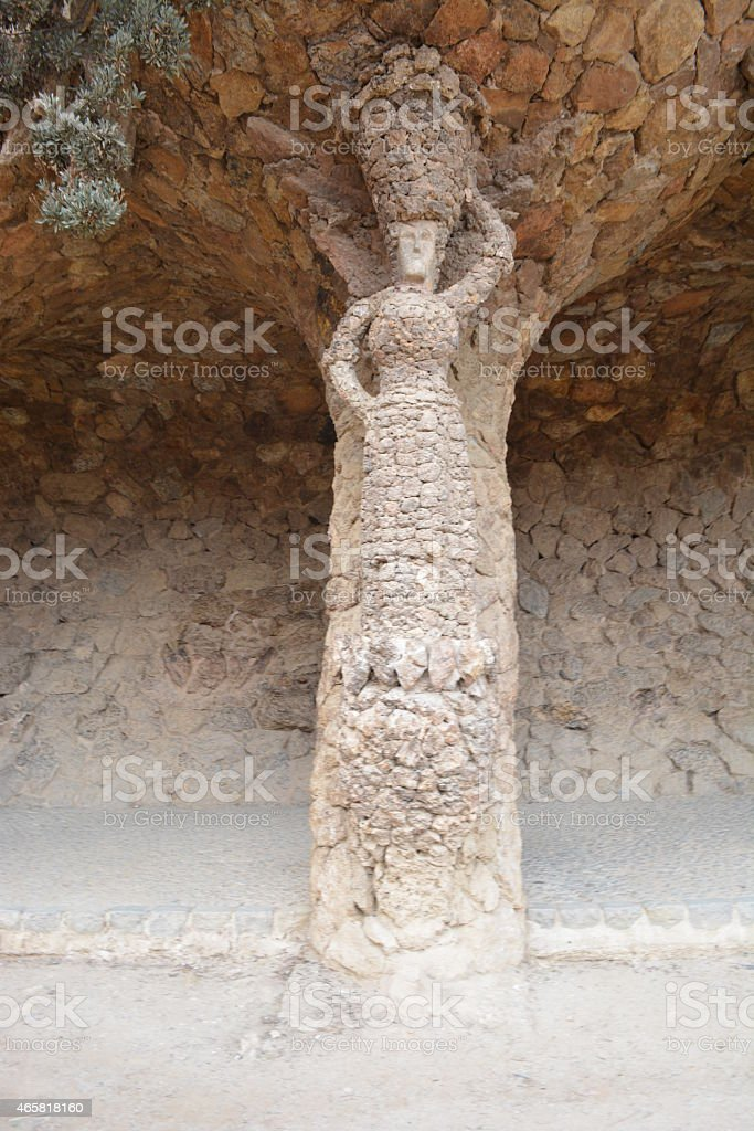Park Guell stone columns stock photo
