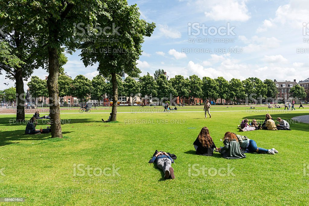 Park in Amsterdam, The Netherlands stock photo