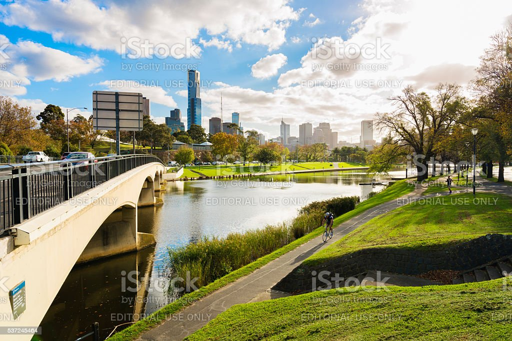 Park in city stock photo