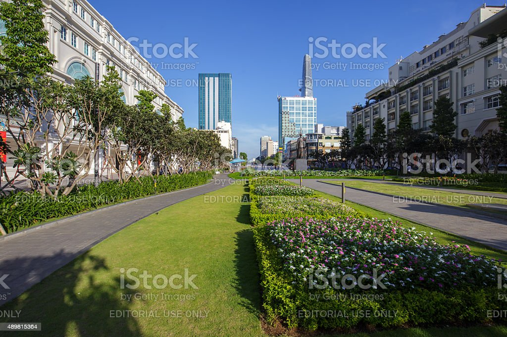 Park in downtown at Nguyen Hue Pedestrian Street royalty-free stock photo