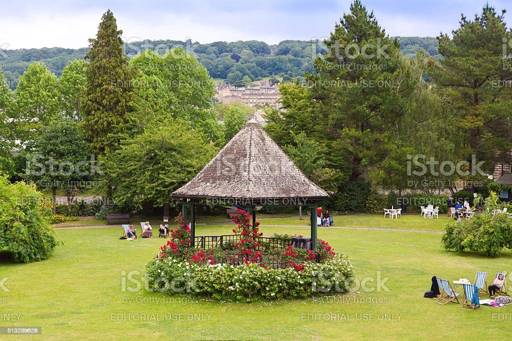 Park in Historic Center of Bath, Somerset, England, United Kingdom. stock photo