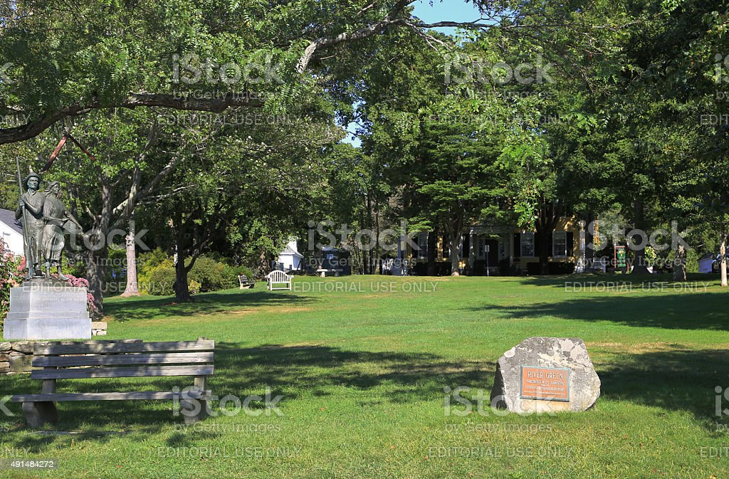 Park in Kennebunkport, Maine, New England, USA. stock photo