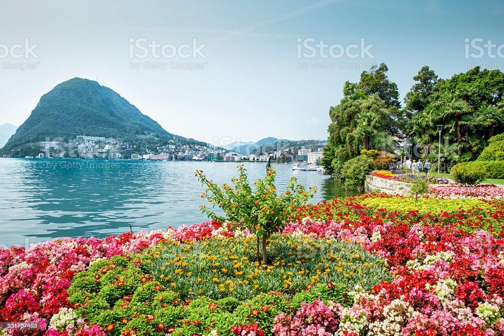 Park in Lugano stock photo