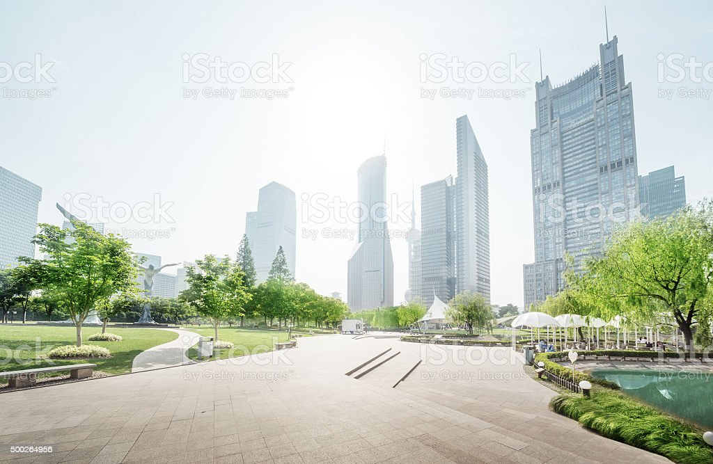 park in lujiazui financial center, Shanghai, China stock photo