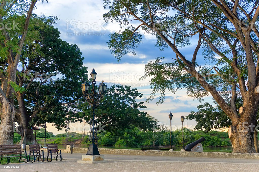 Park in Mompox, Colombia stock photo