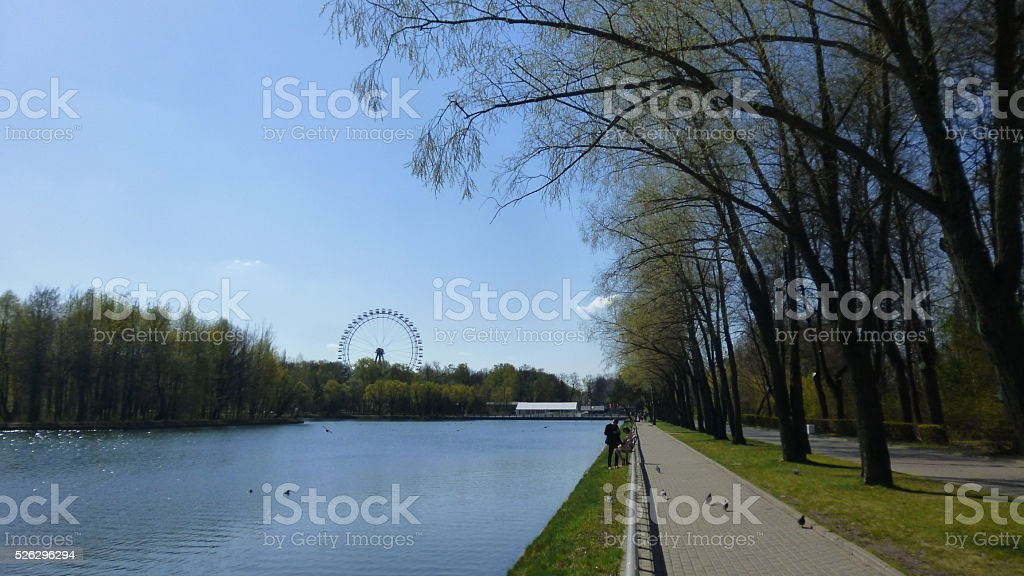 Park in Moscow Spring  Russia stock photo