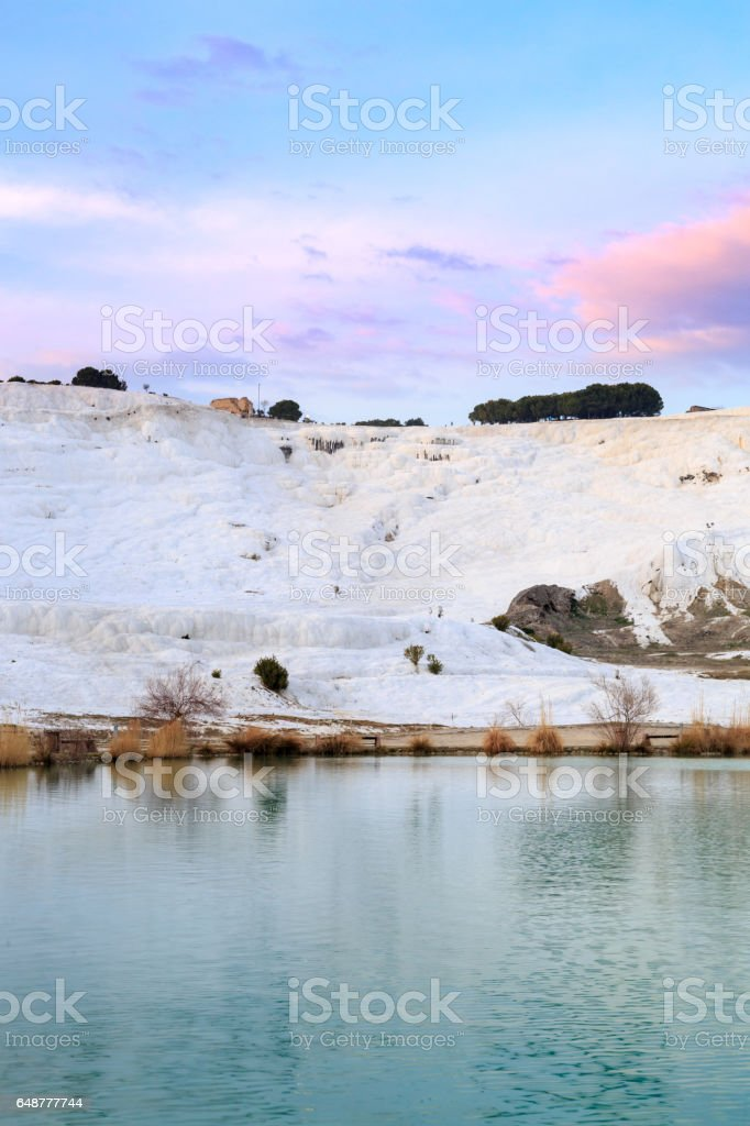 Park in Pamukkale with travertines during sunset time stock photo