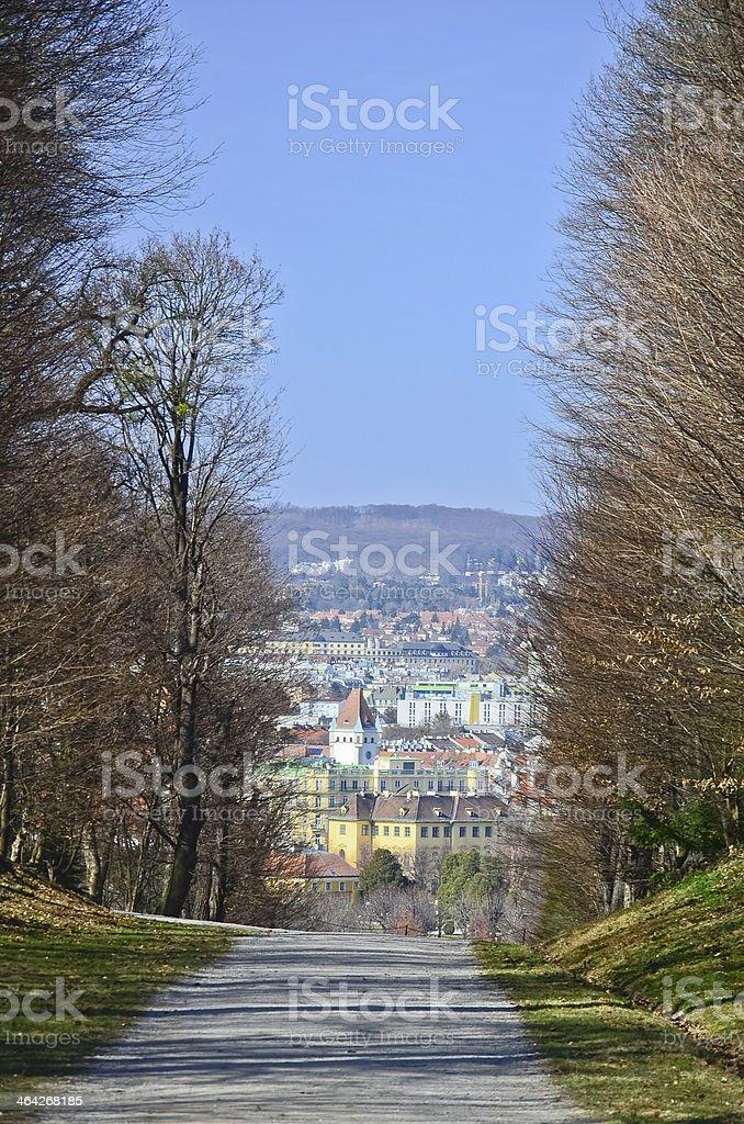 Park in Schonbrunn Palace, Vienna stock photo