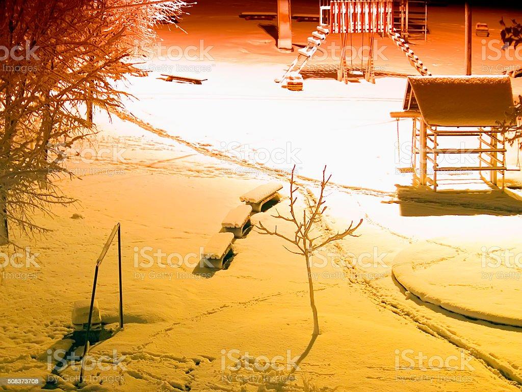 Park in snowy night under the bright spotlight stock photo
