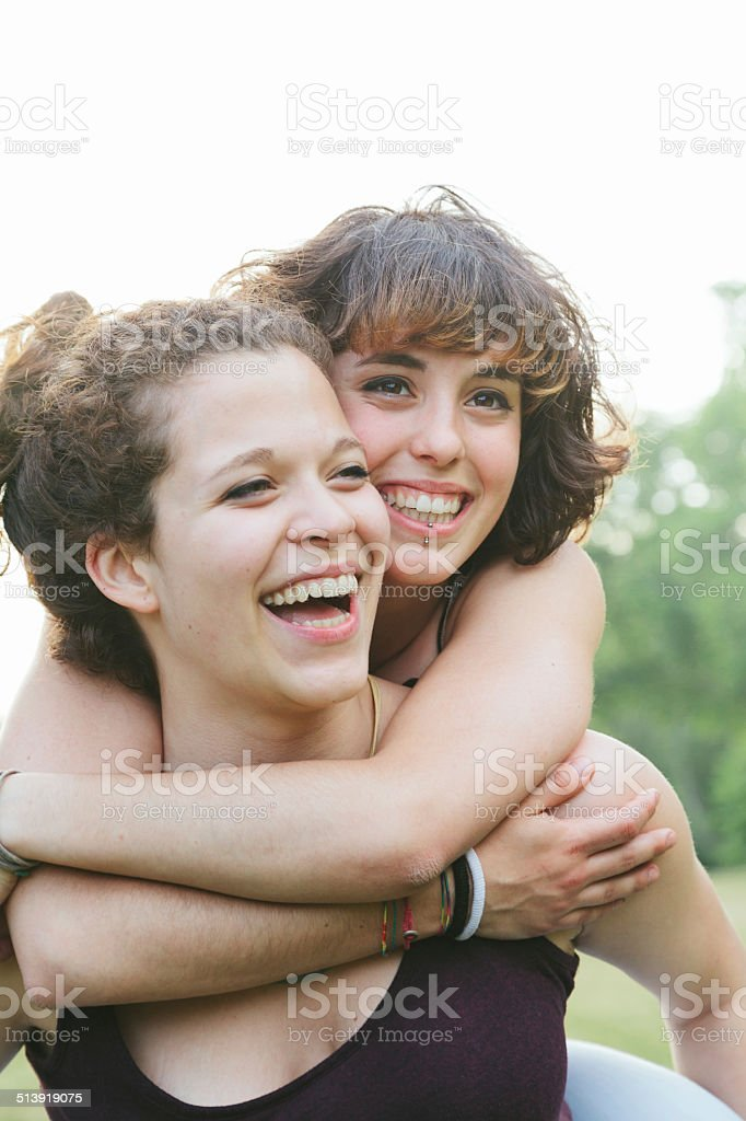 Park in summer. Young couple stock photo