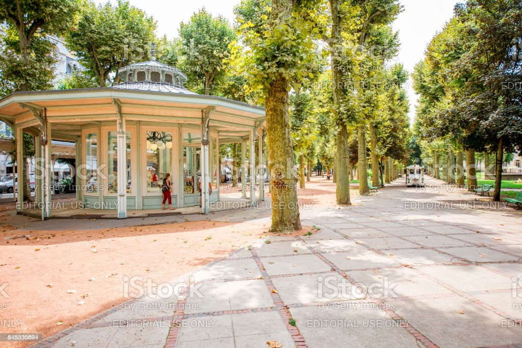 Park in Vichy city, France stock photo