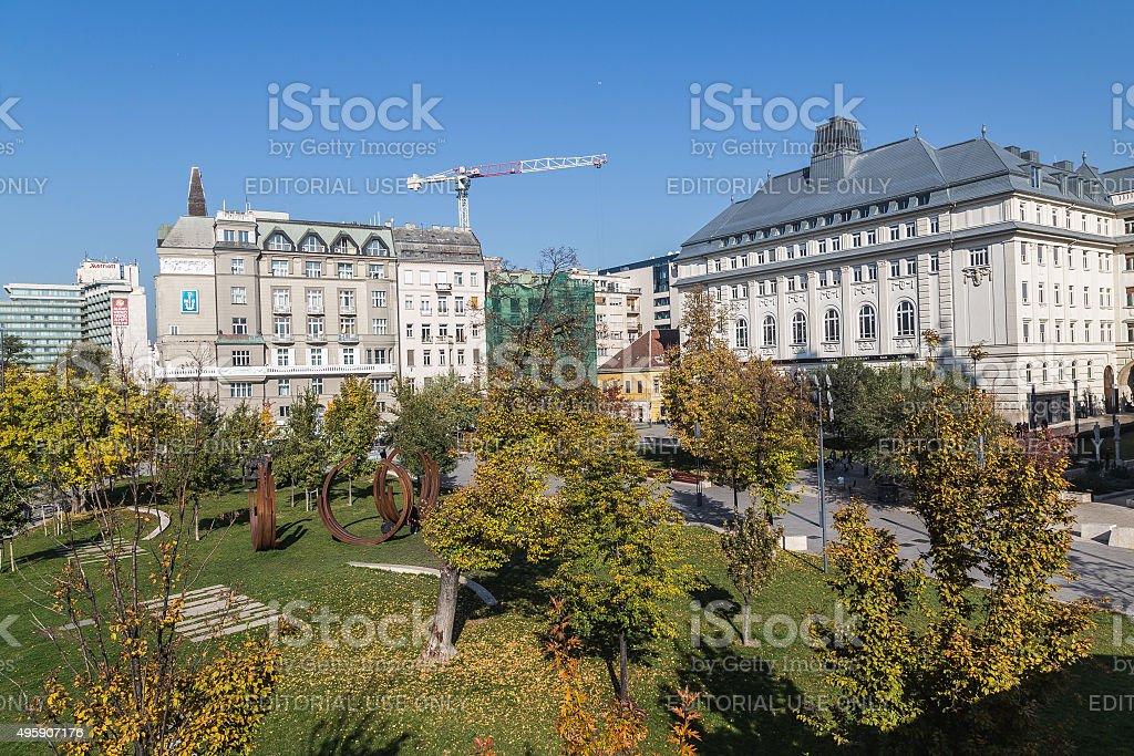 Park Near Elisabeth Bridge in Budapest stock photo