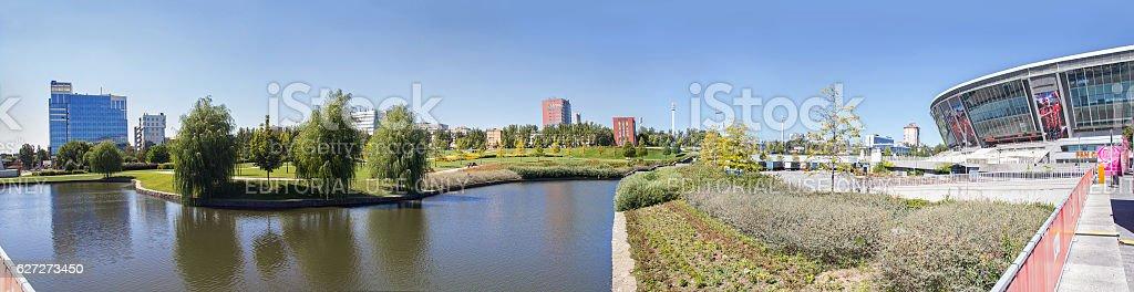 Park near the stadium Donbass Arena. Donetsk, Ukraine stock photo