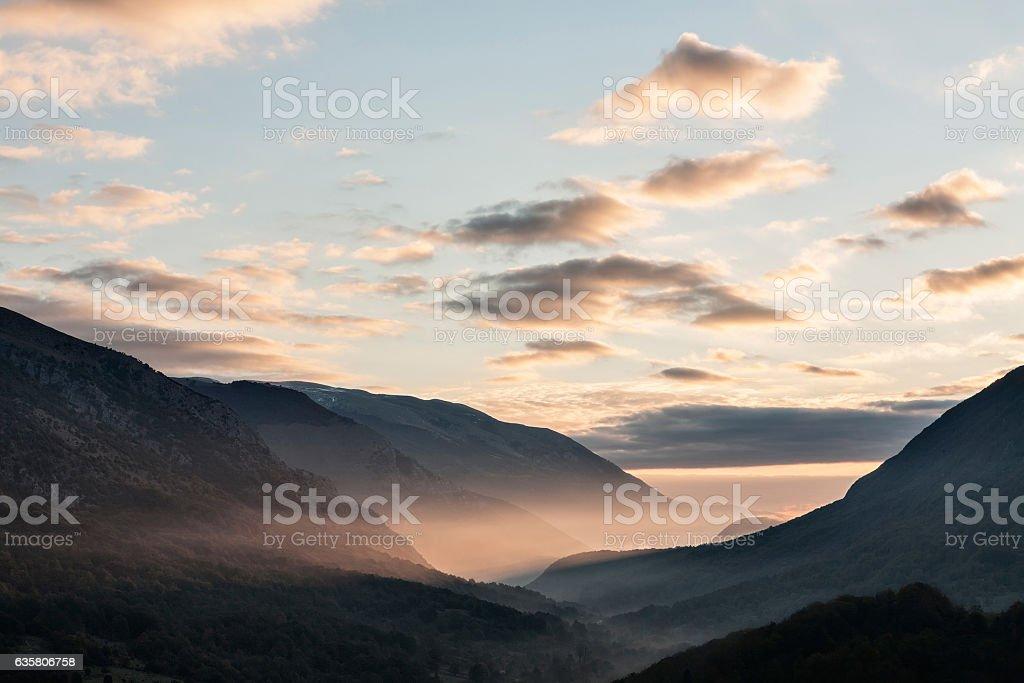 Park of Abruzzo at sunrise, Italy stock photo